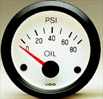 VDO 80psi Oil Pressure Gauge, Cockpit, White Face, 2 1/16""
