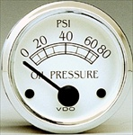 VDO 80psi Oil Pressure Gauge, Royale, White Face with Chrome Bezel, 2 1/16""
