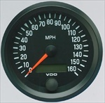 VDO 160mph Speedometer, Cockpit, Black Face, 3 3/8""