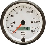 VDO 120mph Speedometer, Cockpit, White Face, 3 1/8""