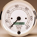 VDO 120mph Speedometer, Royale, White Face with Chrome Bezel, 3 3/8""