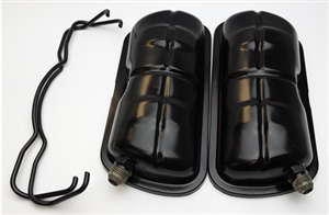 Vented Valve Covers with Bails, Powder Coated Black, Stock Type 1 Based Engines AND Waterboxer, -8 Fittings, PAIR