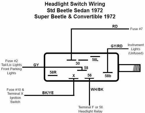 113 941 531E 3 headlight switch, 1971 77 vw beetle, ghia, and type 3, 1971 72 1970 vw bug headlight switch wiring diagram at bakdesigns.co