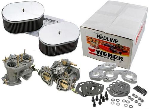 Dual 40mm Weber IDF Carb Kit, 1955-64 Porsche 356 and 1965-69 Porsche 912  With Solex 40P11 Carbs, Redline, K291XE