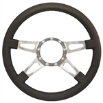 "Volante S9 Premium Steering Wheel (9 Bolt Pattern), 14"", Black Leather Grip, Polished Aluminum 4 Spoke with Slots, ST3070"