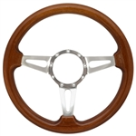 "Volante S9 Premium Steering Wheel (9 Bolt Pattern), 14"", Walnut Grip, Polished Aluminum 3 Spoke with Slots, ST3078"
