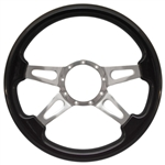 "Volante S9 Premium Steering Wheel (9 Bolt Pattern), 14"", Blackwood Grip, Polished Aluminum 4 Spoke with Slots, ST3079"