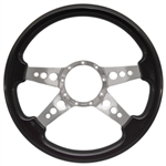 "Volante S9 Premium Steering Wheel (9 Bolt Pattern), 14"", Blackwood Grip, Polished Aluminum 4 Spoke with Holes, ST3081"