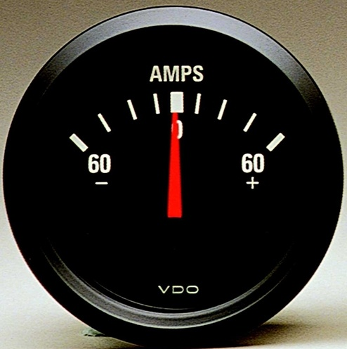vdo ammeter 60 amp cockpit 2 1 16 black face v190031. Black Bedroom Furniture Sets. Home Design Ideas