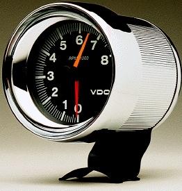 vdo 4 8000 rpm tachometer black face chrome housing aircooled vdo 4 8000 rpm tachometer black face chrome housing