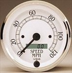 VDO 120mph Speedometer, Royale, White Face with Chrome Bezel, 3 1/8""