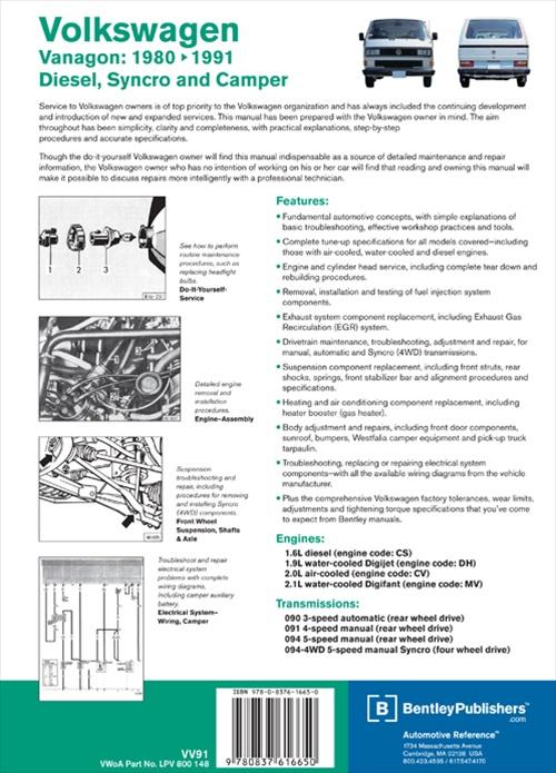 volkswagen vanagon official factory repair manual 1980 91 vanagons covers